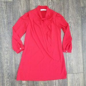 Gumuxi Red Dress Tunic Tie Neck - medium